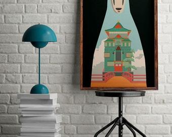 Studio Ghibli poster, Spirited away print, alternative film poster, No face draw