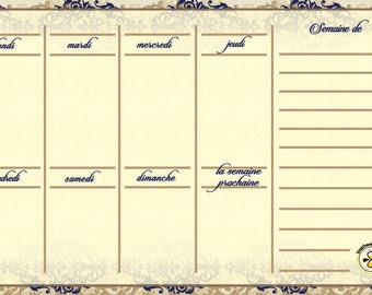 French Royal weekly planner, dry erase calendar, weekly calendar, daily planner, French magnetic calendar for refrigerator, French Planner