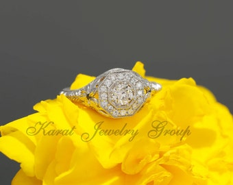 Antique Style Old Miner Diamond Engagement Ring with Single Cut Diamonds and Milgrain Design (aval in yellow, rose, white gold and platinum)