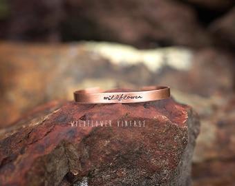 Wildflower Copper Cuff Bracelet | Boho Jewelry Hand Stamped Jewelry Gift Script Cursive Free Spirit Hippie