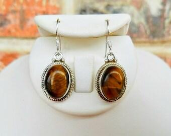 Tigers Eye Earrings - Chakra Jewelry - Silver Earrings - Tigers Eye Stone Earrings - Healing Crystal Jewelry - Boho Earrings