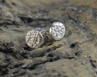reticulated sterling silver studs | tiny silver studs | eco silver earrings | simple stud earrings | earrings with attitide