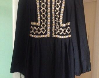 Vintage 1970's Black Maxi Dress