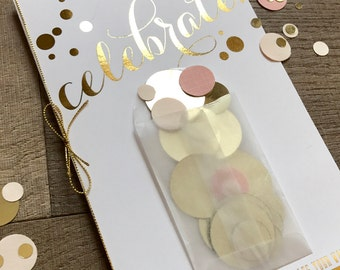 Blush & Gold Confetti Wedding Programs! Mini envelope on the cover with shimmering confetti to toss at the Newlyweds!