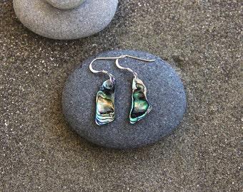 Paua shell earrings, sterling,New Zealand, shell jewellery,paua jewellery,abalone jewelry, abalone, beach jewellery, hippie, nature inspired