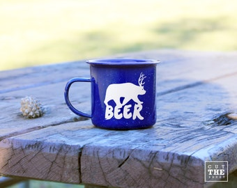 Beer Mug 12 oz, Adventure Mug 12 oz, Camping Mug, Travel Mug, Enamel Mug, Mountain Mug, Enamelware
