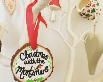 Personalised 'Christmas with the..' hanging wood slice decoration, Stocking filler