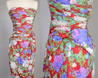Vintage 90s, Red, Floral, Silk, Cocktail Party Dress // 1990s Prom, Strapless, Womens Size Small
