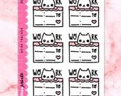 Z089 | Work Tracker stickers - half box stickers, work tracker stickers, eclp stickers, cat stickers, bullet journal stickers