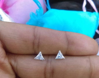 Tiny Diamond Triangle Studs, Single or Pair, Tiny Studs, Sterling Silver Studs, Tiny Earrings, Minimalist Studs, Triangle Shaped Studs