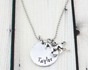 Personalized Horse Necklace - Hand Stamped Name Necklace for Kids - Personalized Horse Jewelry - Horse Birthday Gift - Hand Stamped Jewelry