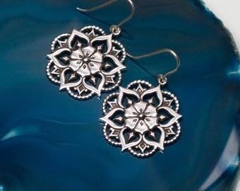 Flower Mandala Earrings/ Sterling Silver Mandala Earrings/ Mandala Dangle Earrings/ Flower Earrings/ Sacred Geometry Earrings/ Boho Jewelry
