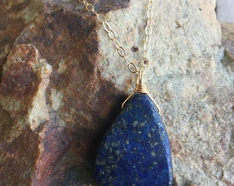 Lapis lazuli 14k gold filled necklace