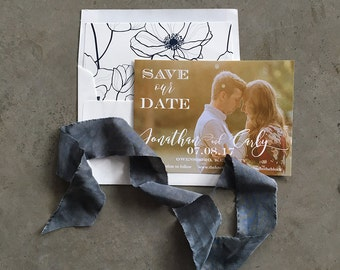 Romantic Script Save the Date Cards with envelopes
