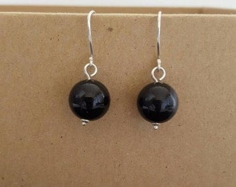 Large black agate and sterling silver earrings
