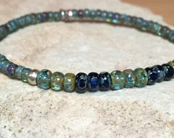 Pretty green and blue bracelet, Czech seed bead bracelet, silver bracelet, boho style bracelet, yoga bracelet, delicate bracelet