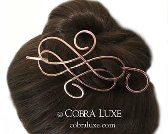 Celtic Hair Barrette Copper Bun Holder Long Hair Clip Copper Hair Stick Hair Pin Hair Slide Long Hair Accessory, Gift Women