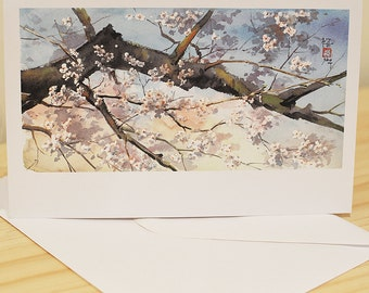 Cherry Blossoms Above You - Greetings Card Japanese Watercolour Print with Envelope - Original by Yuko Sekiguchi A07 FREE SHIPPING in UK