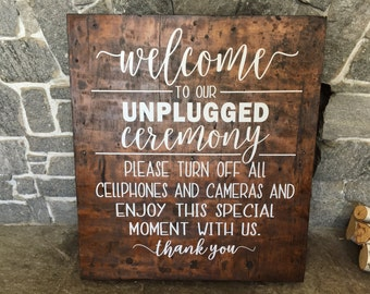 Wedding Decals, Unplugged Ceremony, Unplugged Wedding, Wedding Sign, Unplugged Sign, Wedding Signs, Unplugged, Wedding Signage, Wedding Deco