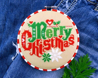 Christmas Cross Stitch Pattern – Merry Christmas – Modern Cross Stitch Chart – Vintage Cross Stitch – Counted Cross Stitch Pattern
