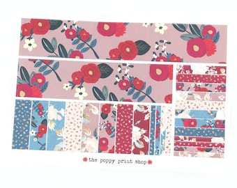 """Berry Blossoms Large Bottom Washi and """"Washi"""" Strip Planner Stickers - For use in Erin Condren, Happy Planner, Plum Paper"""