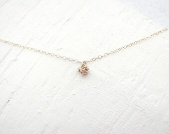 gold filled tiny knot necklace, minimal gold knot choker necklace, dainty gold necklace, simple knot necklace, delicate tiny knot necklace