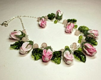 Handmade flower lampwork necklace, glass roses necklace assembled on a sterling silver chain, artisan glass necklace