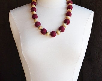 Felted necklace, wool necklace, wine red, cabernet, fiber necklace, wood beads, wool beads, felted beads, all natural necklace, women gift