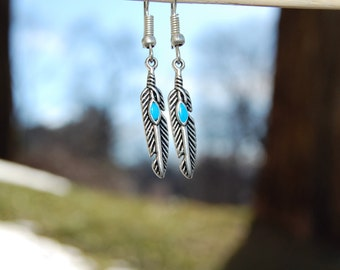 Turquoise Feather Earrings, Simple Silver Everyday Dangle Earings, Boho Chic Bridesmaid Jewelry, Ethnic, Hippie Tribal Gift Ideas for her