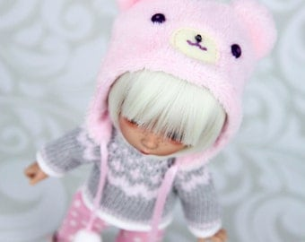 Marshmallow Bear outfit (Bear hat, sweater, trousers) for pukifee, lati yellow, tiny,  1/8 bjd dolls