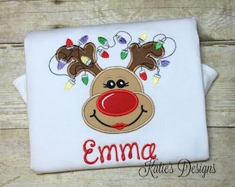 Christmas Applique Shirt, Reindeer Applique, Christmas shirt, Reindeer Girl applique shirt, Girls Christmas shirt, personalized, monogrammed