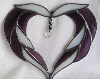 glass heart sun catcher, prism, purple glass, white glass, love, valentine, mother, friend, gift,