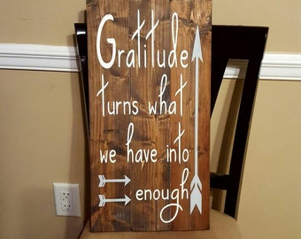 Gratitude Sign~Rustic Wood Sign~Arrow Sign~Gratitiude~Gifts~Reclaimed Wood Sign~Country Sign~Pallet Wood Sign~Arrows~Hand painted sign~Gift