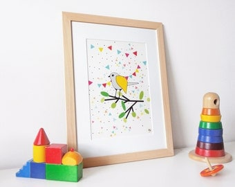 Framed illustration Scandinavian style, cheerful and colorful child table, bird, confetti and party flags