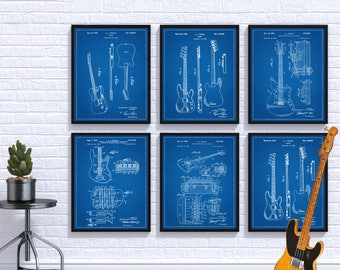 PATENT Fender Guitar,SET OF 6, Guitar, Fender Patent, Fender Art,Guitar Wall Art,Telecaster Patent, Electric Guitar, Guitar Patent Art #P30