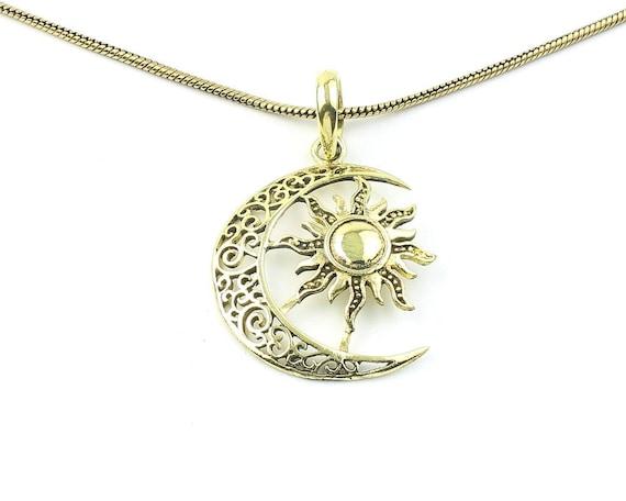 Sun And Moon Necklace, Brass Pendant, Cosmic, Space Jewelry, Festival Jewelry, Boho, Bohemian, Gypsy, Hippie, Spiritual