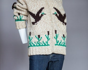 His and Hers Cowichan Hand Knit Sweaters | Chunky Sweater |Wool Sweater |Brown Wool Sweater |Vintage Hand knit Sweater |Zipper Cardigan