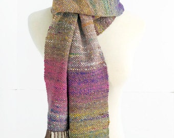 Hand woven scarf, purple pink green brown scarf,  Noro silk wool cotton scarf, mother's day gift, gift for her, handwoven scarf by Spunwool
