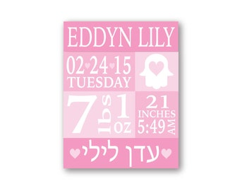 Jewish baby etsy hebrew name birth stats nursery decor jewish baby gift hebrew name canvas birth stats negle Image collections