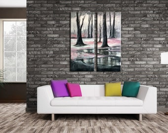 ABSTRACT PAINTING -  Modern Home Wall Decor Painting Canvas Art (together 80x100 cm )(32x40inch) forest ,trees