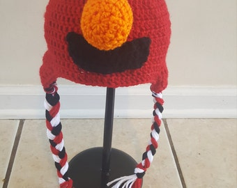 Elmo Hat with ear flaps and braids