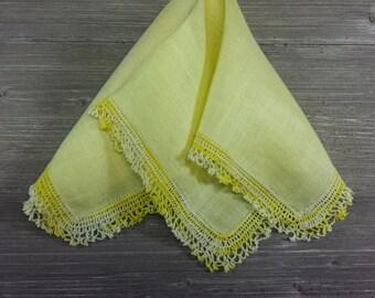 Vintage Hankie. Yellow Linen Hankerchief. Crochet Lace Trim. Gift For Her