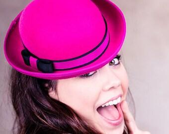 Women's Hat, Mini Hat, Fuchsia pink felt mini Bowler Hat - Laurel
