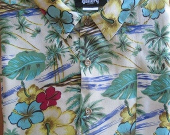 Hawaiian Shirt, Men, Size Large, Gallery Limited, 100% Rayon, Vintage