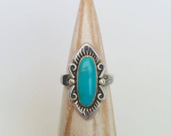 Vintage Sterling Silver Bell Trading Post Southwestern Style Oval Turquoise Scroll Ring