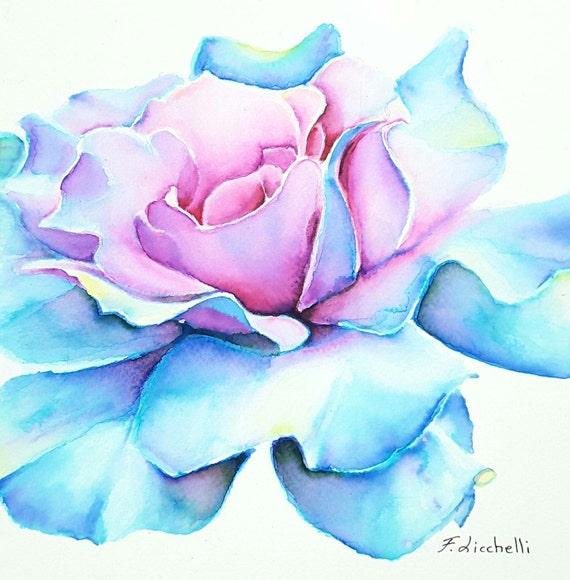 Blue rose,watercolor,original painting,OOAK,20x20 cm./8x8 inc.,wall decoration,wall art, gift idea, bedroom,home art,living.