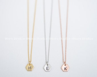 Personalized Initial Hexagon Necklace/ Delicate Hexagon Tags, Minimal Geometric Necklace, Hand Stamped Disc, Name Tag Bridesmaid Jewelry 141