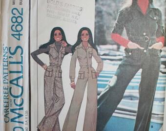 Vintage sewing pattern womens jumpsuit McCalls UNCUT Size 10 (Bust 32.5), 1970s Marlos Corner long yoked jumpsuit
