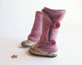 Leg warmers for child, Rose, buttons, 9 months to 4 years, handmade, recycled fabrics