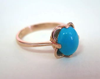 Gold Turquoise ring - Solid Gold Turquoise Ring - Rose Gold Ring - Vintage Ring - Vintage Turquoise Ring - Rose Gold - 14k Rose Gold Ring